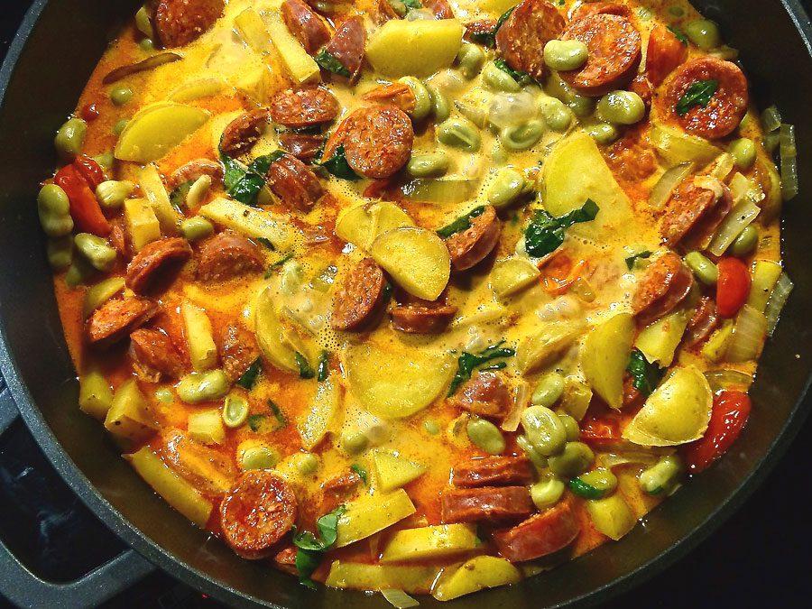Eintopf mit dicken Bohnen und Chorizo