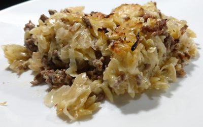 Hack-Sauerkraut-Kritharaki-Auflauf